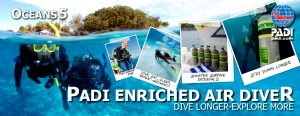 Become a Padi Nitrox Diver Gili Islands with IDC dive resort Oceans 5 Gili Air Indonesia